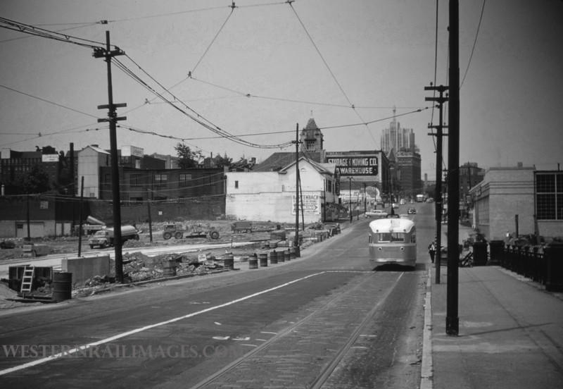 PSCO 116 - Jun 19 1955 - pcc car at Grand & Market looking north - St Louis MO