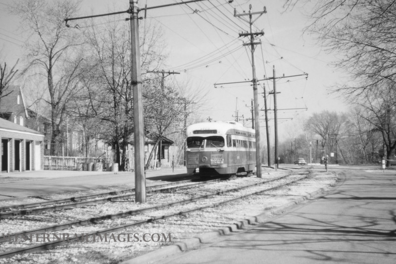 PSCO 191 - Mar 20 1957 - pcc car 1729 wb on University line near Flynn Park University City MO