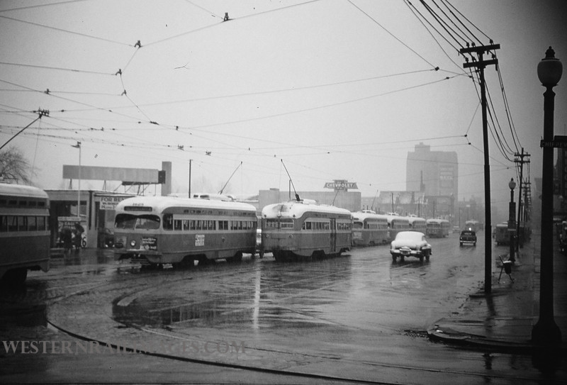 PSCO 90 - Mar 25 1955 - Grand ave & Chippewa looking north on grand during snow St  Louis MO