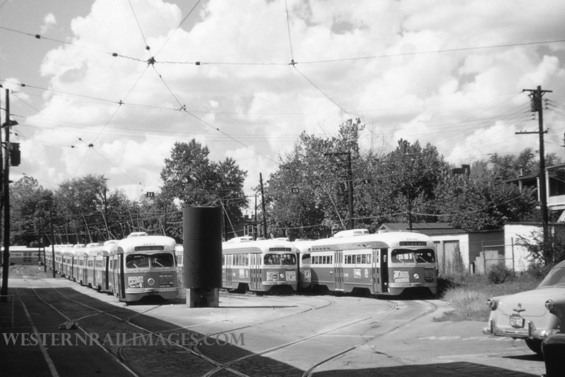 PSCO 23 - Sep 18 1954 - PCC's 1633 1562 & 1630 at S Broadway - St Louis MO