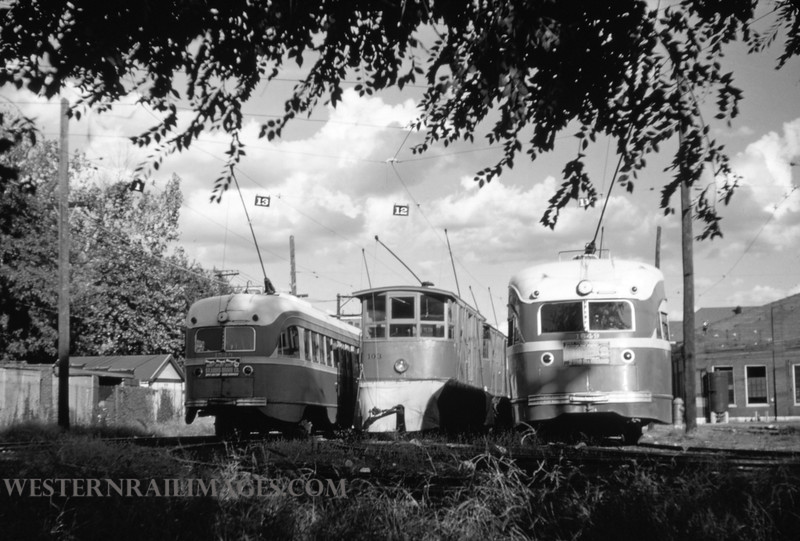 PSCO 26 - Sep 18 1954 - street sweeper No 103 framed by PCC's at S Broadway - St Louis MO