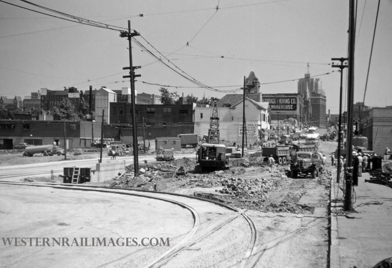 PSCO 119 - Jun 28 1955 - looking north at Grand & Market - St Louis MO