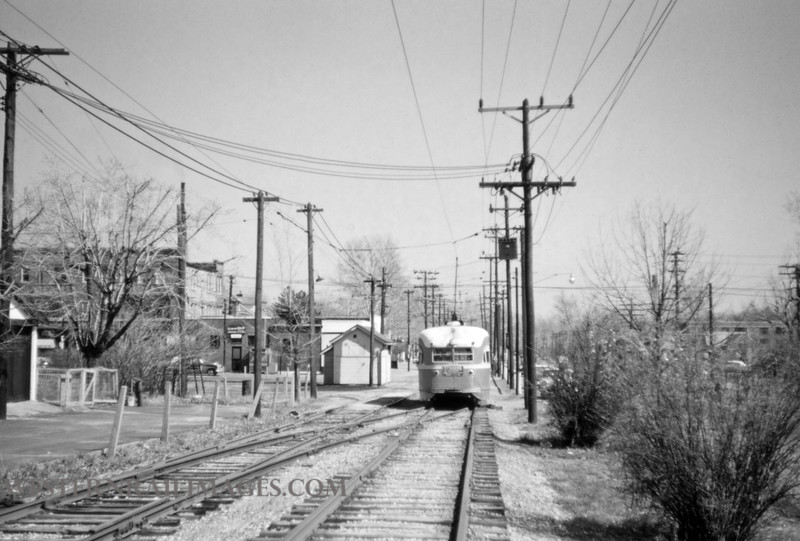 PSCO 189 - Mar 20 1957 - pcc car 1733 eb on university line near Big Bend Loop - St Louis MO