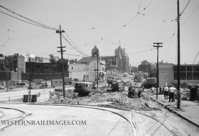 PSCO 127 - Jun 28 1955 - looking north @ Grand & Market - St Louis MO