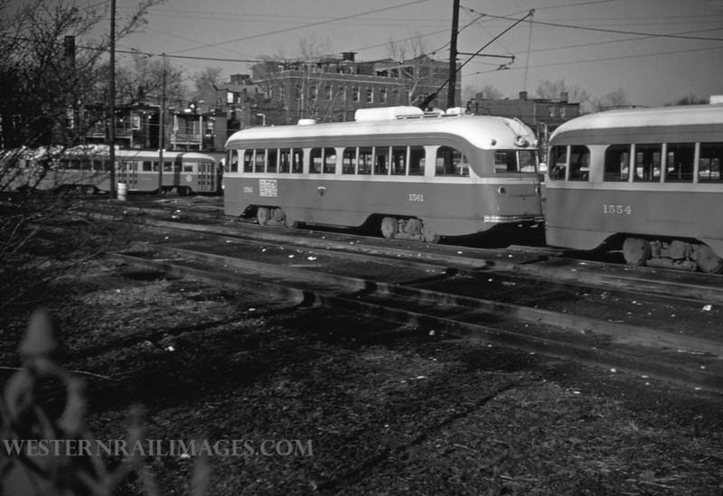 PSCO 69 - Mar 1 1955 - cars 1551 & 1554 at S Broadway built by St Louis Car Co 1940 type pcc - St Louis MO