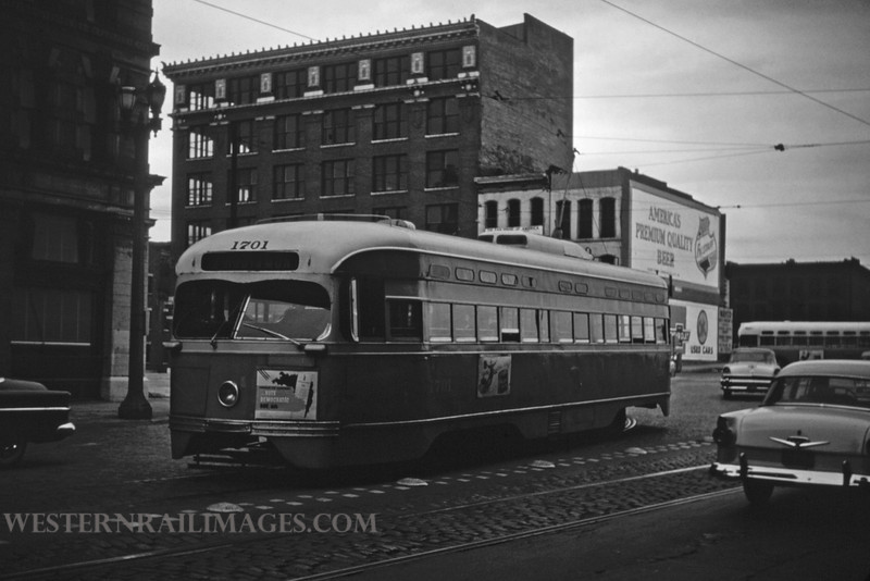 PSCO 180 - Nov 2 1956 - pcc car 1701 wb on Washington at 3rd St Hodiamont line - St Louis MO