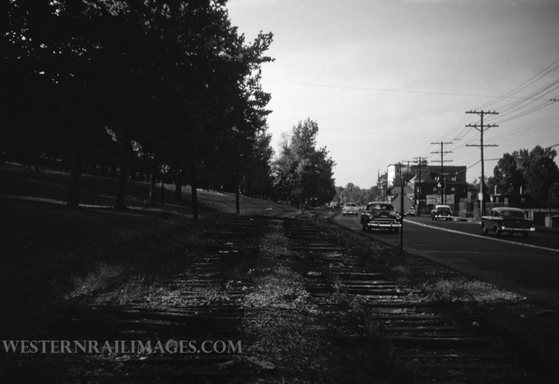 PSCO 174 - Oct 9 1956 - R of W of old broadway line along N Broadway looking north - St Louis MO