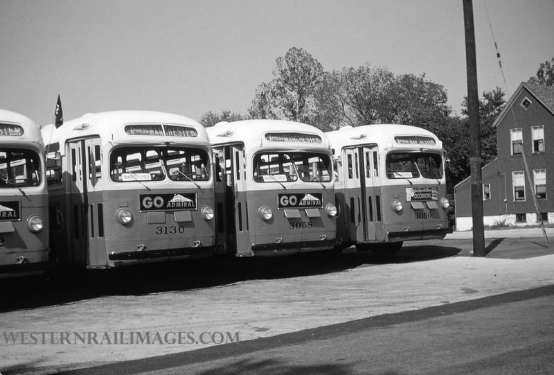 PSCO 11 - Aug 29 1954 - GMC Bus 3130 3058 & 3050 at Lindenwood Yard St Louis MO - by Jim Ozment