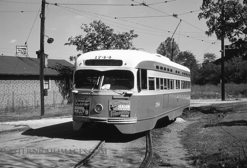 PSCO 216 - Sep 26 1957 - pcc car 1744 @ suburban gardens loop on Hodiamont line St  Louis MO