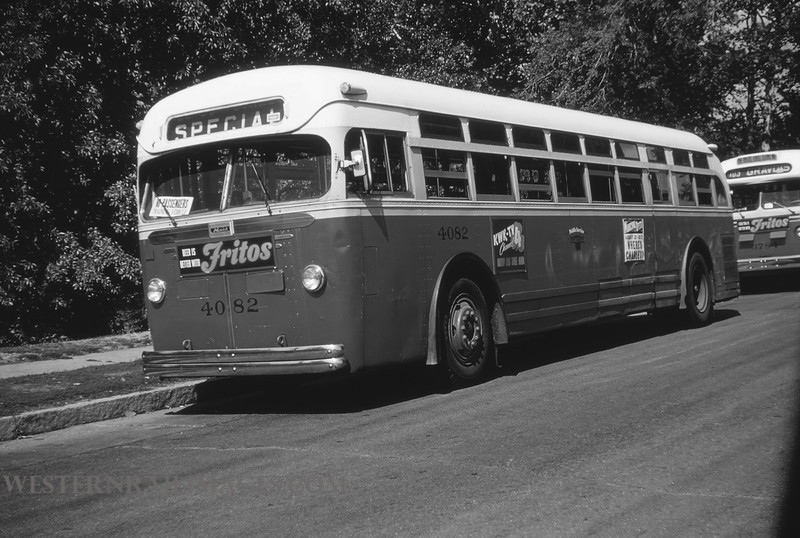 PSCO 4 - Aug 3 1954 - Mack Bus 4082 at Holly Hills and Grande Ave St Louis MO - by Jim Ozment