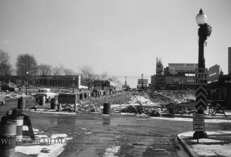 PSCO 56 - jan 13 1955 - looking east on Market toward Grande Ave - St Louis MO