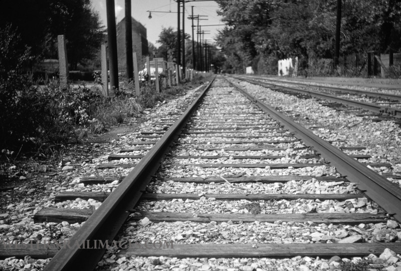 PSCO 138 - Oct 14 1955 - University Tracks along Millbrook during strike looking west - St Louis MO