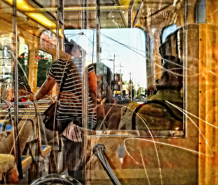 Trolley Interior Light Reflections