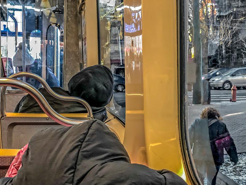 Boarding  Trolley, Sleeping Passengers