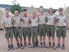The crew all smiles after a shower, hot meal, and awarded their prized Philmont Arrowhead