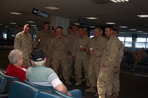 """These troops are singing """"Happy Birthday"""" to Maine Troop Greeter Gloria G.<br /> Happy Birthday, Gloria!!!"""