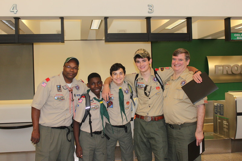 John B. Smith Jr.; Brad Smith; Sam Etheredge; Garner Bayless; Charles Bayless at Atlanta Airport before departure to Philmont Training Center.