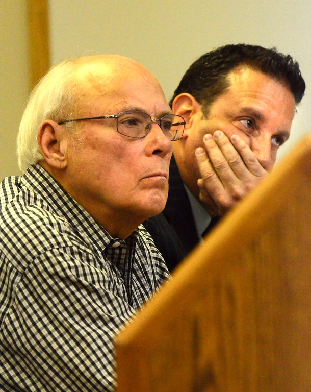. Charles Warren, Jr., left, and his attorney Neil Rockind at his preliminary exam in Judge Kelley Kostins 52-2 district court in  Clarkston. Warren is charged with reckless driving and failure to stop at the scene of a fatal accident after death of Michigan State Trooper Chad Wolf.  Wednesday, January 13, 2016.  Tim Thompson-The Oakland Press