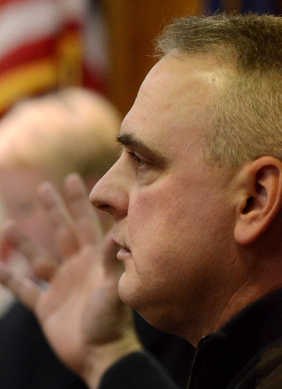 . Michigan State Police Trooper Phillip Parker testifies during the preliminary exam of Charles Warren, Jr. in Judge Kelley Kostins 52-2 district court in  Clarkston. Warren is charged with reckless driving and failure to stop at the scene of a fatal accident after death of Michigan State Trooper Chad Wolf.  Wednesday, January 13, 2016.  Tim Thompson-The Oakland Press