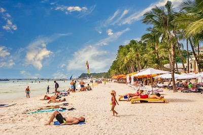 The beautiful powdery sand of White Beach on Boracay Island.