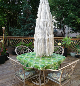 tropical umbrella and tablecloth