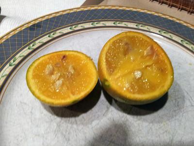 slightly unripe fruit inside