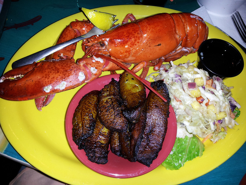 killer dinner at Mango Mike, lobster and fried plantains