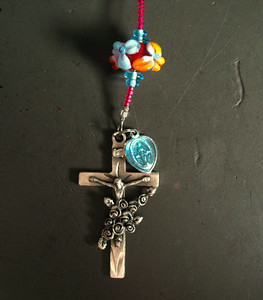 tropical punch lampwork rosary