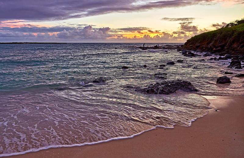 Tropical Beach and Fisherman Sunrise Kailua Hawaii