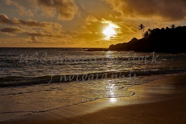 Tropical island sunrise on the beach
