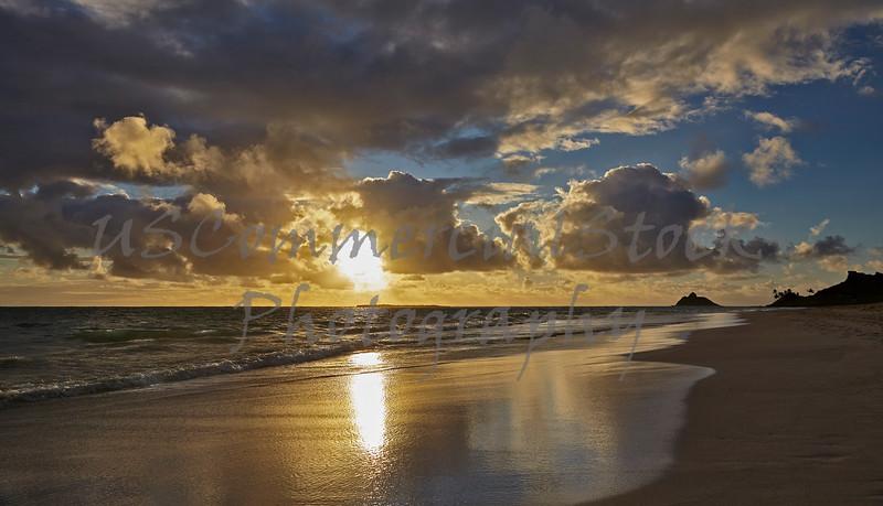 Tropical island shoreline beach sunrise