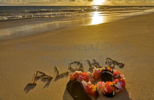 Tropical island beach aloha in sand with slippers