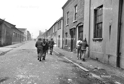 Two suspects being led off by the British Army during riots in Northern Ireland  Belfast Late 60' early 70's