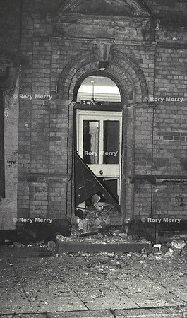 Northern Ireland Police station gets bombed during a riot. Belfast Catholic area riot late 69 early 70's