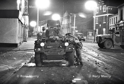 Late night action in Northern Ireland during a riot in Belfast. British Solders in action.