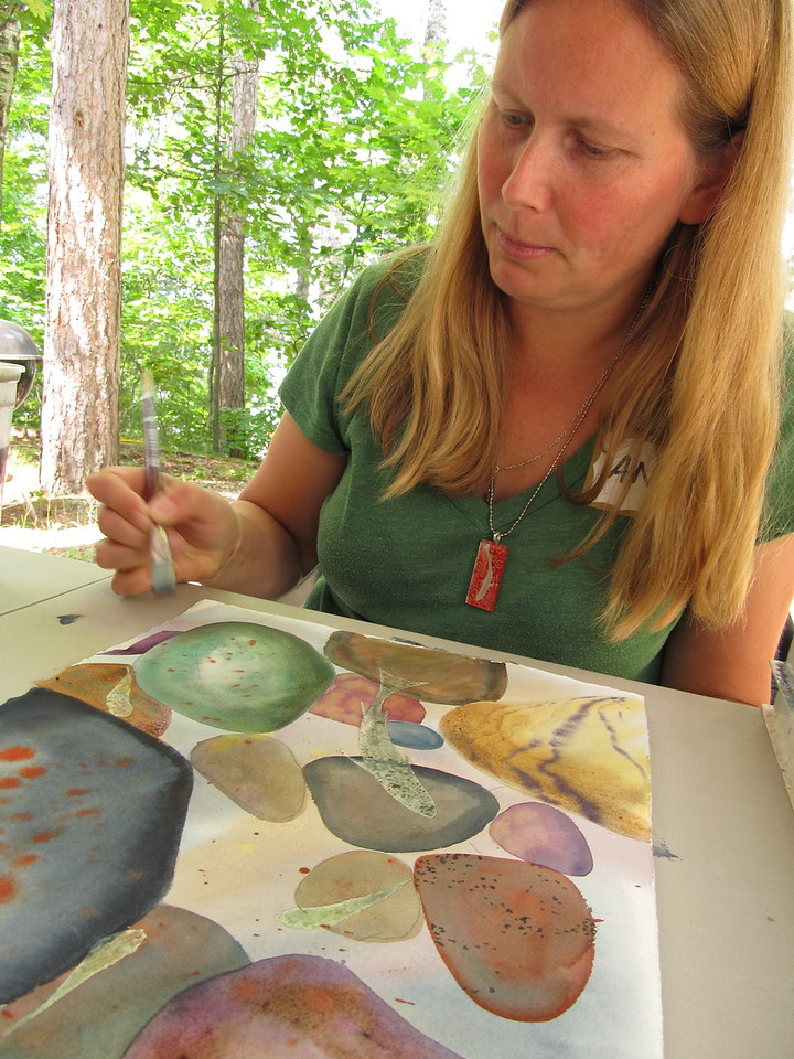 A representative from LTEarts joined to demonstrate how artists are using their talents to raise awareness on keeping lakes healthy and invasive-free.