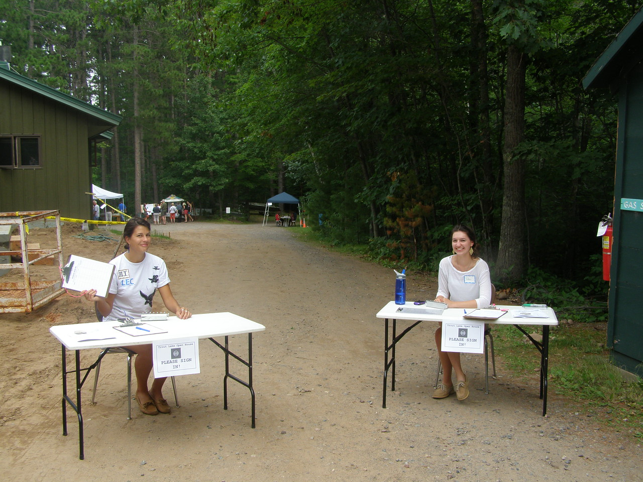 On Friday, August 3rd, the CFL's research station on Trout Lake in northern Wisconsin held it's 2nd annual open house. Here, summer undergraduate students Ali Branscombe and Val Jones staff the sign-in tables.