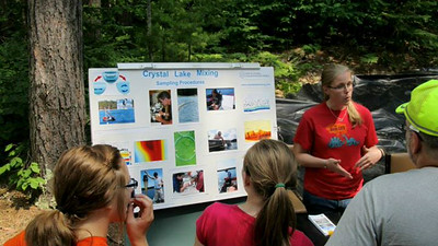 Graduate student Emily Heald gives updates on the Crystal Lake Mixing Project