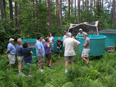 A group of visitors takes a look at a running experiment testing how long certain invasive snails, crayfish and plants can survive out of water and, presumably, on board any of the boats that visit Wisconsin lakes every year. John Havel and Susan Knight, along with a team of undergraduate students, are running the experiment.