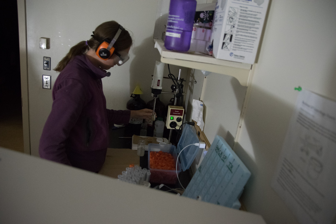 Camryn Kluetmeier crushing chlorophyll-saturated filter paper