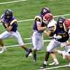 David M. Johnson - djohnson@digitalfirstmedia.com <br /> Troy High quarterback Joe Casale escapes pressure against Lancaster in the NYSPHSAA Class AA Championship Sunday at the Carrier Dome in Syracuse.