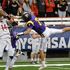 David M. Johnson - djohnson@digitalfirstmedia.com <br /> Lancaster's Max Giordano makes a catch over Troy's Joe Casale in the NYSPHSAA Class AA Championship Sunday at the Carrier Dome in Syracuse.