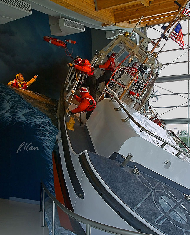 Coast Guard boat/ship: 44-foot US coast Guard motor lifeboat 44300, 44 ft long, served 20 years as a motor lifeboat, then 15 years as a training boat. Now housed as an exhibit at the Columbia River Maritime Museum, Astoria, Oregon 2005.