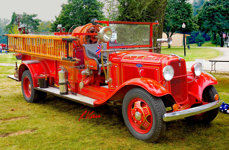Fire engines, trucks, apparatus, historical: 1934 Ford Sanford pumper, Newark Valley Fire Department. Fire apparatus Muster, Riverside Park, Ypsilanti, Michigan August 26, 2006