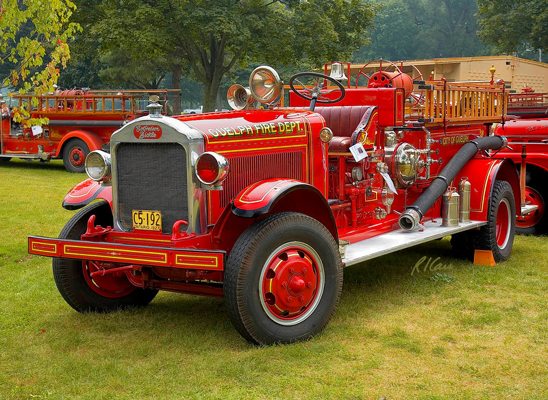 Fire engines, trucks, apparatus, historical: 1927 Gotfreson-Bickle pumper of Guelph, Ontario, Canada, now residing in Ypsilanti, Michigan. Fire apparatus Muster, Riverside Park, Ypsilanti, Michigan August 26, 2006