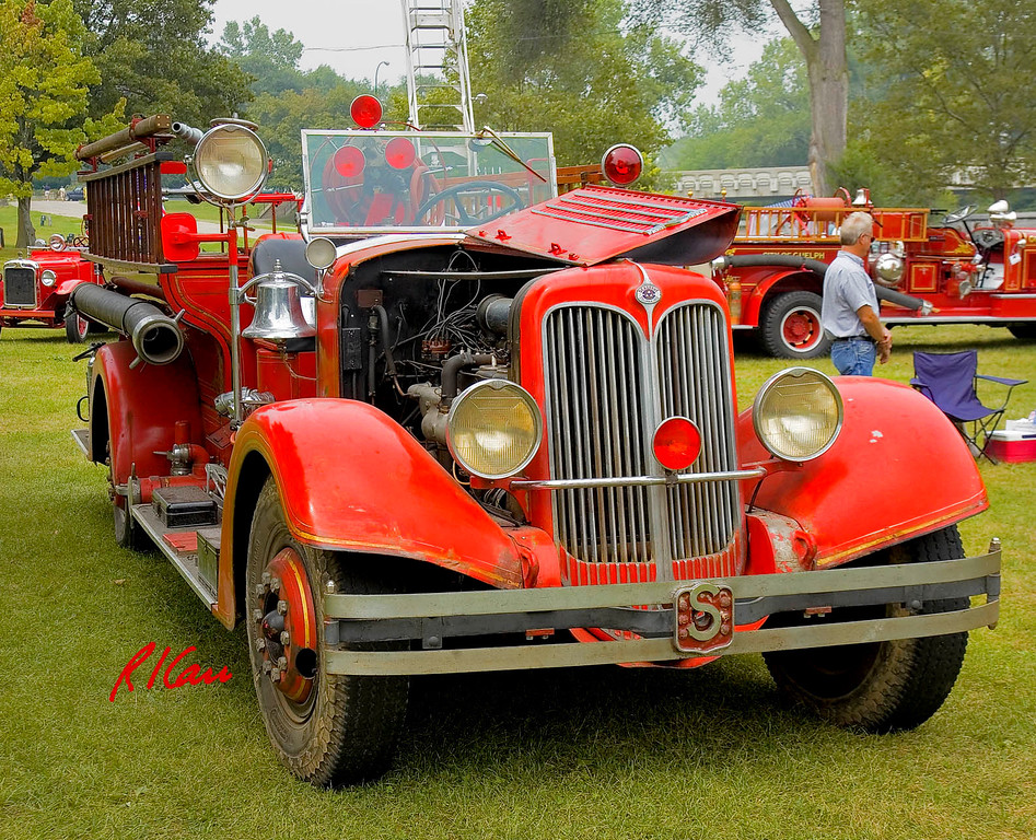 Fire engines, trucks, apparatus, historical: 1936 Seagrave pumper with V12 engine of Woonsocket Fire Department. Fire apparatus Muster, Riverside Park, Ypsilanti, Michigan August 26, 2006