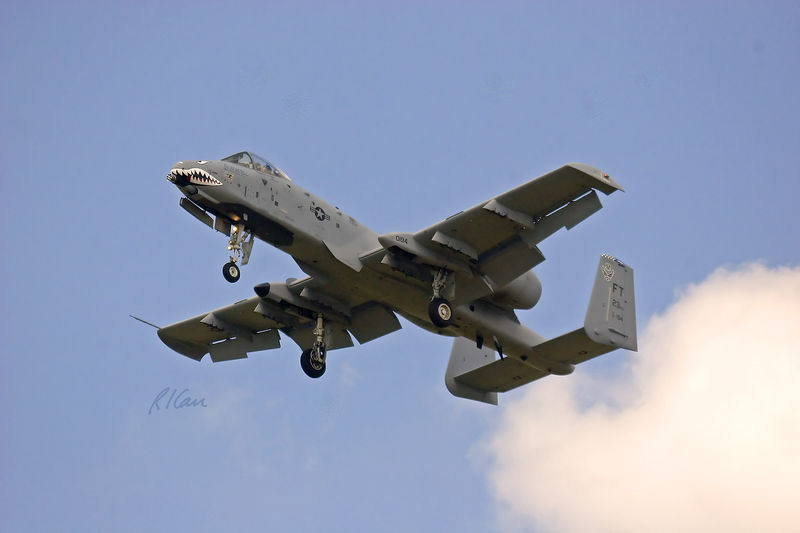 "Vintage military aircraft: A-10 Thunderbolt ""Warthog"" purpose is to supply close air support for ground troops. Its 2 turbofan engines each provide 9,000 lb of thrust. Its speed is 420 mpg (Mach 0.56), its ceiling is 45,000 ft, and its range is 800 mi. Its crew is one, the pilot. Thunder Over Michigan, Yankee Air Force, Willow Run Airport, Ypsilanti, Michigan, August 2005."