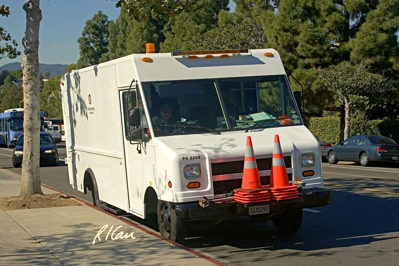 Utility truck/van: City of Los Angeles Water and Power, Aeromaster Walk-In Van (also called Step Van) manufactured by Utiliimaster Corp, waits to help service/ maintain subsurface utilities. Los Angeles, CA 2004.