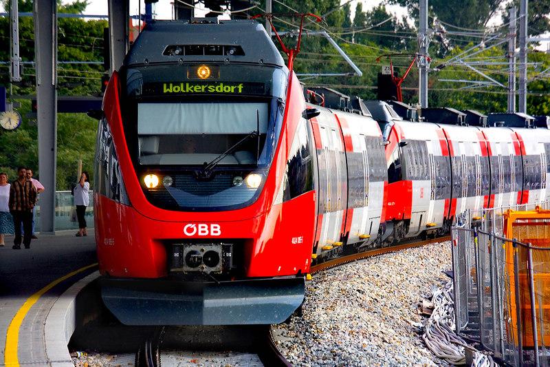 Passenger train bound for Wolkersdorf pulls into Praterstern train station, Vienna, Austria. July, 2006.