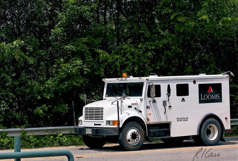 Armored truck on International 4700 truck chassis/frame, Groton, Massachusetts, 2007.